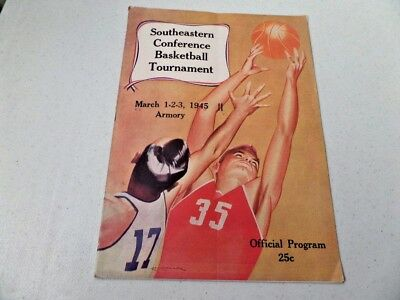 Vintage 1945 SEC Tournament March 1-2-3  Program Kentucky WINNER RARE