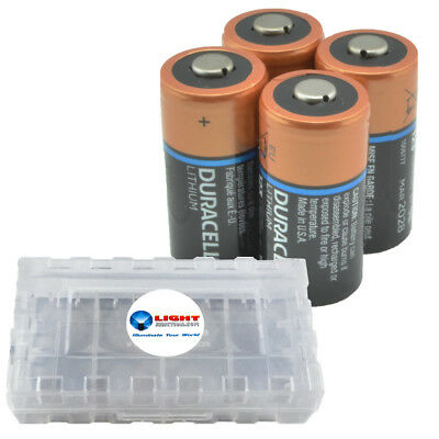4 Pack Duracell CR123A Lithium Batteries 3V CR123 DL123 -  w Battery Case