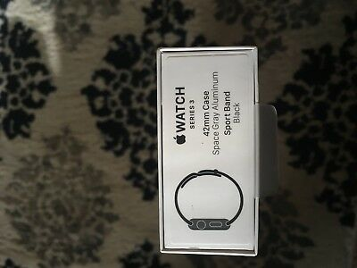 Apple Watch Series 3 42mm Space Gray Aluminium Case Black Sport Band BOX ONLY