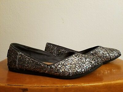 TOMS  Gray Rainbow Glitter Sparkle Flats Shoes 8-5