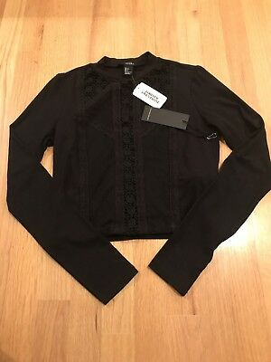 NWT FOREVER 21 BLACK CROPPED LONG SLEEVE JERSEY LACE INSET TOP Size S Orig 15-90