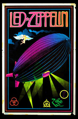 Vintage Led Zeppelin Black Light Poster Replica 13 x 19 Photo Print