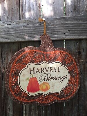 New Pumpkin Plaque  HARVEST BLESSINGS Autumn Thanksgiving Welcome - COLORFUL