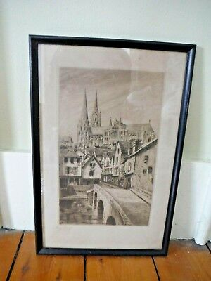 Antique Lucy Garnot Framed EngravingPrint Chartres Cathedral France Provenance