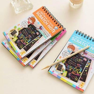 Scratch Scraping Book Art Magic Painting Paper Kid Toy Education Drawing Stick