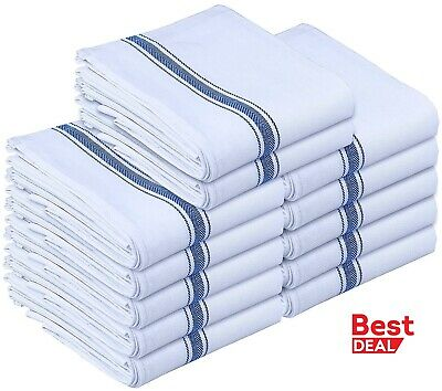 Dish towels 12 Pack Absorbent White Cotton Striped 15 x 25 Kitchen 100 cotton