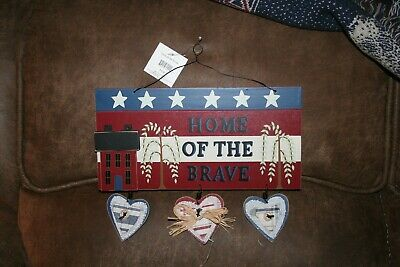 Rustic Wooden Home of the Brave Fourth of July Memorial Day Decoration Plaque