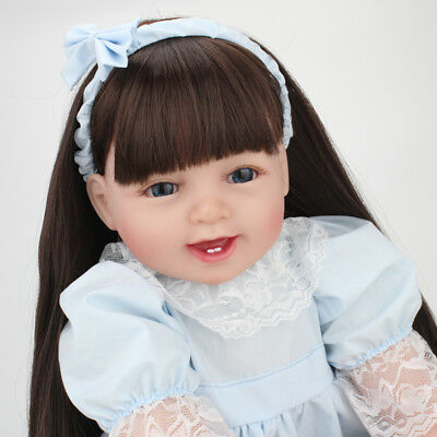 22 Reborn Baby Doll Girl Soft Vinyl Real Life Newborn Long Wig Toddler Dolls
