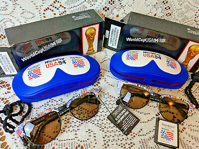 2 PAIR-SOCCER WORLD CUP USA 1994 STRIKER SUNGLASSES TRANSITIONS-NEW W CASE BOX