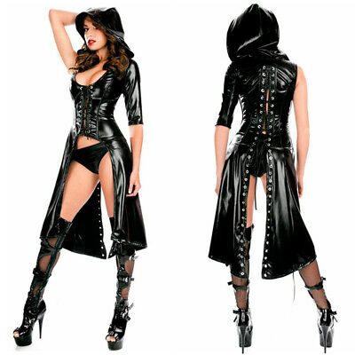 GOTHIC DAMEN PUNK MANTEL WETLOOK LACKLEDER KAPUZEJACKE MANTEL GOWN KLEID SHORTS