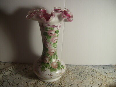Vintage Fenton Art Glass Hand Painted Roses Pink Overlay Roses Vase 8 Inches
