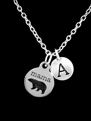 Mama Bear Necklace Mom Mothers Day Gift Initial Charm Jewelry
