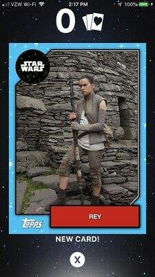 Topps Star Wars Card Trader Mother's Day Exclusive Rey Blue 60 CC White 166 CC