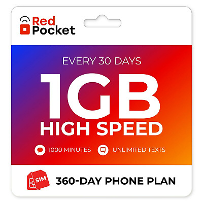 7Mo Red Pocket Prepaid Wireless Phone Plan-Kit 500 Talk 500 Text 500MB