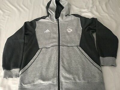 Authentic ADIDAS REAL MADRID FULL ZIP HOODIE Sweatshirt For Men's SIZE LARGE