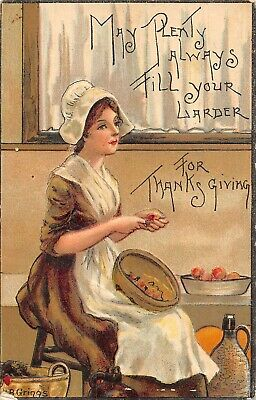 Thanksgiving Lady prepares food for the day sgnd H- B- Griggs   1910
