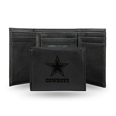 Dallas Cowboys Black Laser Engraved Synthetic Leather Trifold Wallet NWT