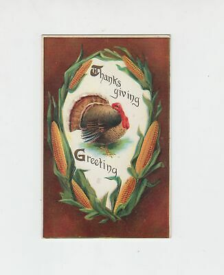 circa 1910 Thanksgiving Greeting Turkey and Corn embossed Postcard unposted