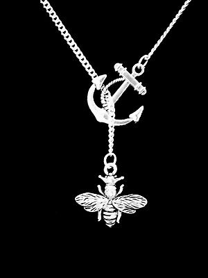 Queen Bee Necklace Animal Insect Lariat Mom Mothers Day Gift Jewelry Anchor