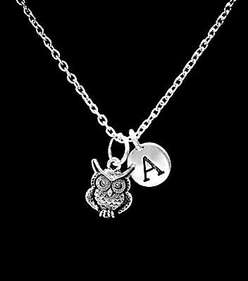 Owl Necklace Animal Nature Friend Sister Mothers Day Mom Initial Gift Jewelry