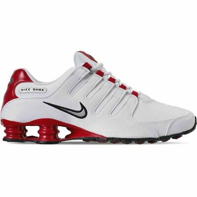 New Nike Mens Shox NZ Leather Shoes 378341-110  White  Met Silver-Univ Red