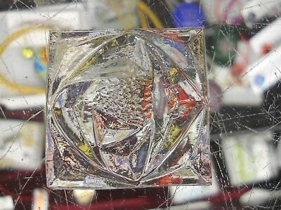 8 CLEAR  Stained Glass Square Jewels - Rose Pattern 1-5 Inches - NICE