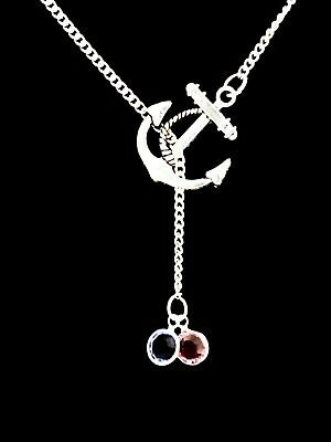Birthstone Necklace Personalize Anchor Mother Gift Mothers Day Lariat Jewelry