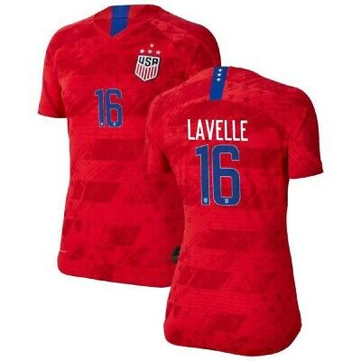 Rose Lavelle 16 USA WOMENS Red 2019 World Cup 4 Star SOCCER JERSEY