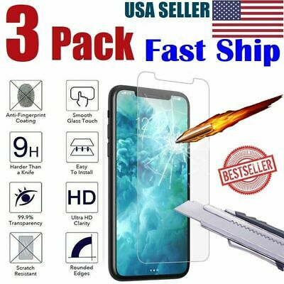 3-Pack iPhone 6  7  8 Plus Tempered GLASS Screen Protector Bubble Free 11 X XS