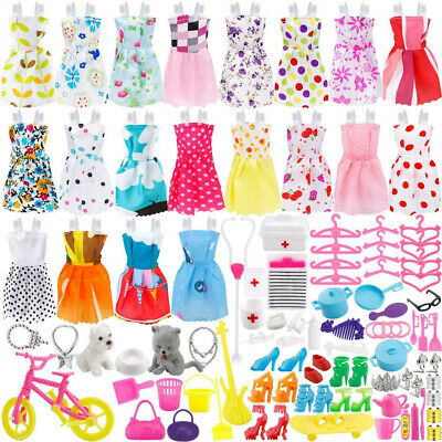 135 Pcs Barbie Doll Clothes Party Gown Outfits Shoes Bags Necklace Toy Xmas Gift