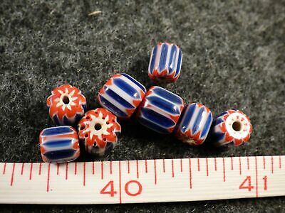 8 Fur Trade Era Indian 6 Layer Chevron Glass Trade Beads Red Whi Blue Very Old
