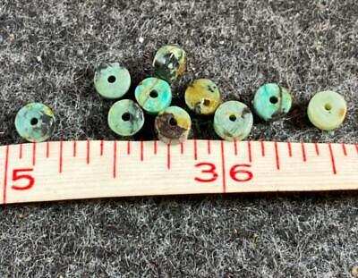 10 Original Navajo Turquoise Indian Trade Beads 150- Years Old Round Discs