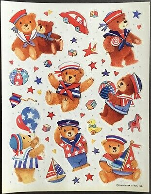 Vintage Hallmark Stickers - 4th of July - Teddy Bears - Adorable