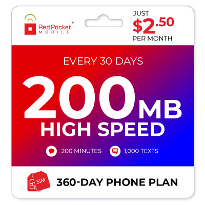 2-50Mo Red Pocket Prepaid PlanCDMAS 200 Talk 1000 Text 200MB