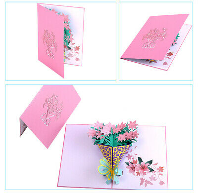 Lily  3D Pop up Gift Cards Birthday Mothers Day holiday Teacher Anniversary