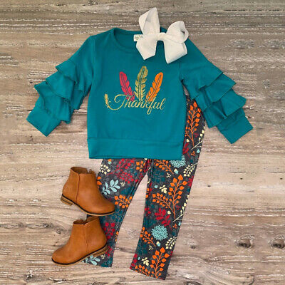 US 2019 Thanksgiving Kids Baby Girl Ruffle Tops Leggings Pants Clothes Tracksuit