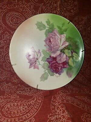 Hand Painted China Plate Pink Roses Marked Signed Guyeau 9 14 in