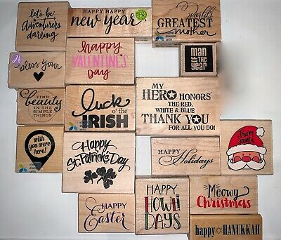 Rubber Stamps Holiday Phrases Christmas Hanukkah New Year St Patricks - -CHOOSE