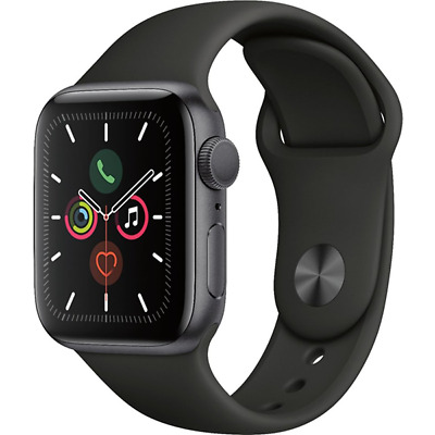 Apple Watch Series 5 GPS 40mm Space Gray Black Sport Band MWV82LLA