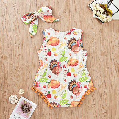 2PCS Newborn Baby Girl Thanksgiving - Halloween Clothes Romper Bodysuit Outfits