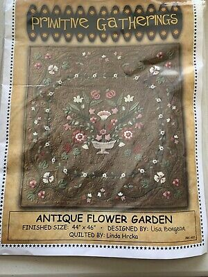 Primitive Gatherings Antique Flower Garden Wool And Flannel Kit 44x46