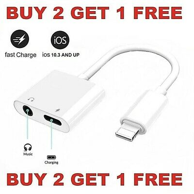 Dual Adapter 3-5mm Headphone - Charger 2 in 1 Adapter for iPhone 7 8 X XR XS 11