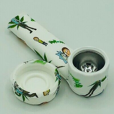 Silicone Smoking Pipe with Metal Bowl - Cap Lid  R - M Character Pipe   USA