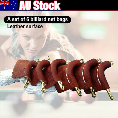 6pcs Leather Snooker Table Net Pockets Set Billiard Pool Replacement Ball Bags