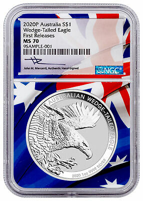 2020 P 1 1 oz Silver Wedge-Tailed Eagle NGC MS70 FR Mercanti PRESALE SKU60450