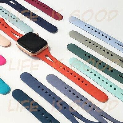 Soft Silicone Narrow Sport Band fits w Apple Watch Series 5 4 3 2 and 1