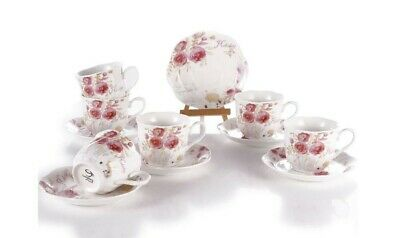 Excellent Condition Tea Set for 6 Bone China with PinkRed Rose Pattern