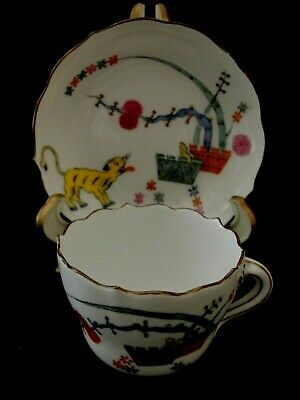 RARE ANTIQUE MEISSEN  HAND PAINTED DEMITASSE CUP AND SAUCER-YELLOW TIGER-