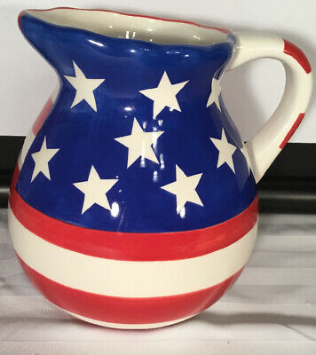 Red White Blue Hausenware 2 12 Quarts Flag Pitcher Fourth of July USA Pitcher