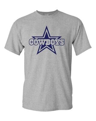 DALLAS COWBOYS Gray - White T-shirt  Navy Graphic Cotton Adult Logo S-4XL
